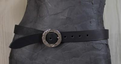 Textured Circle Buckle 3 CM Belt