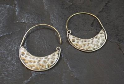 Lathe Crescent Earring