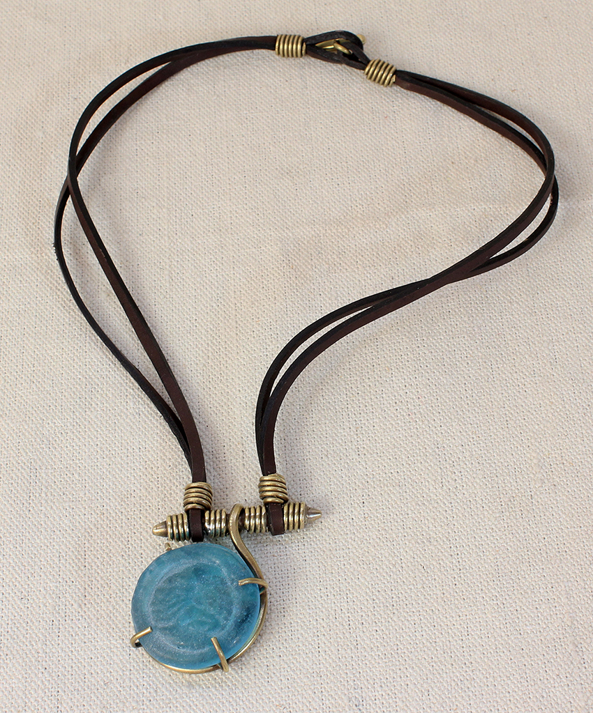 2 Leather Belts Glass Pendant Necklace