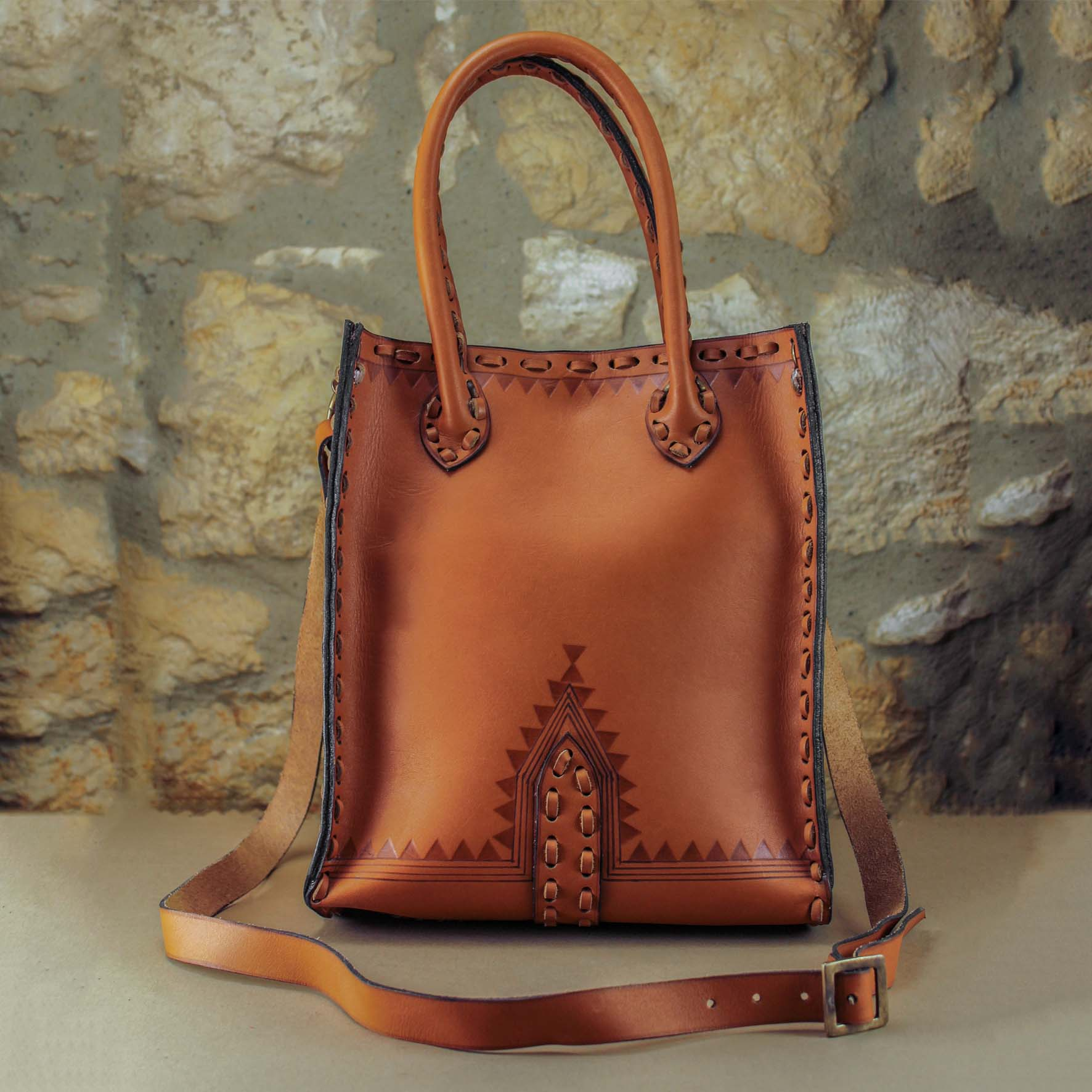 Old, Leather Shopping Bag