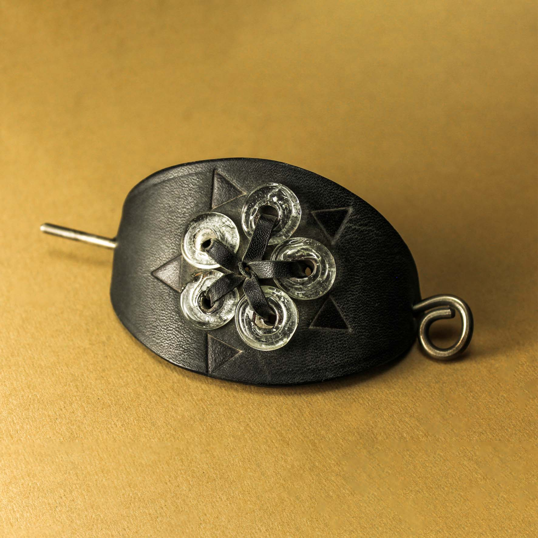 Leather & Glass Flower Hairpin