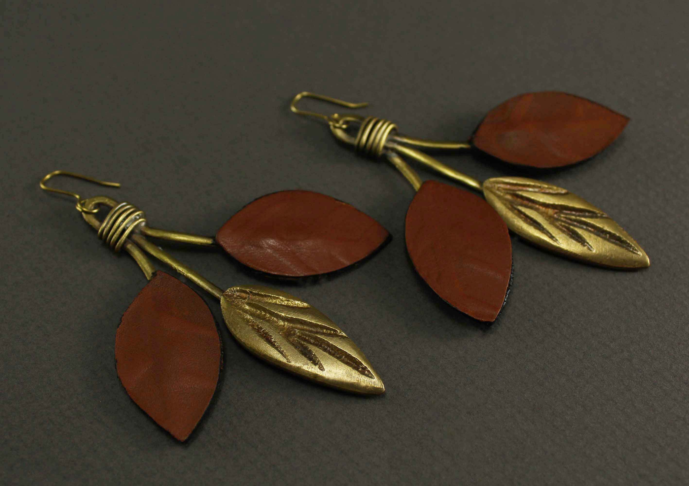 Tree three leaf earrings