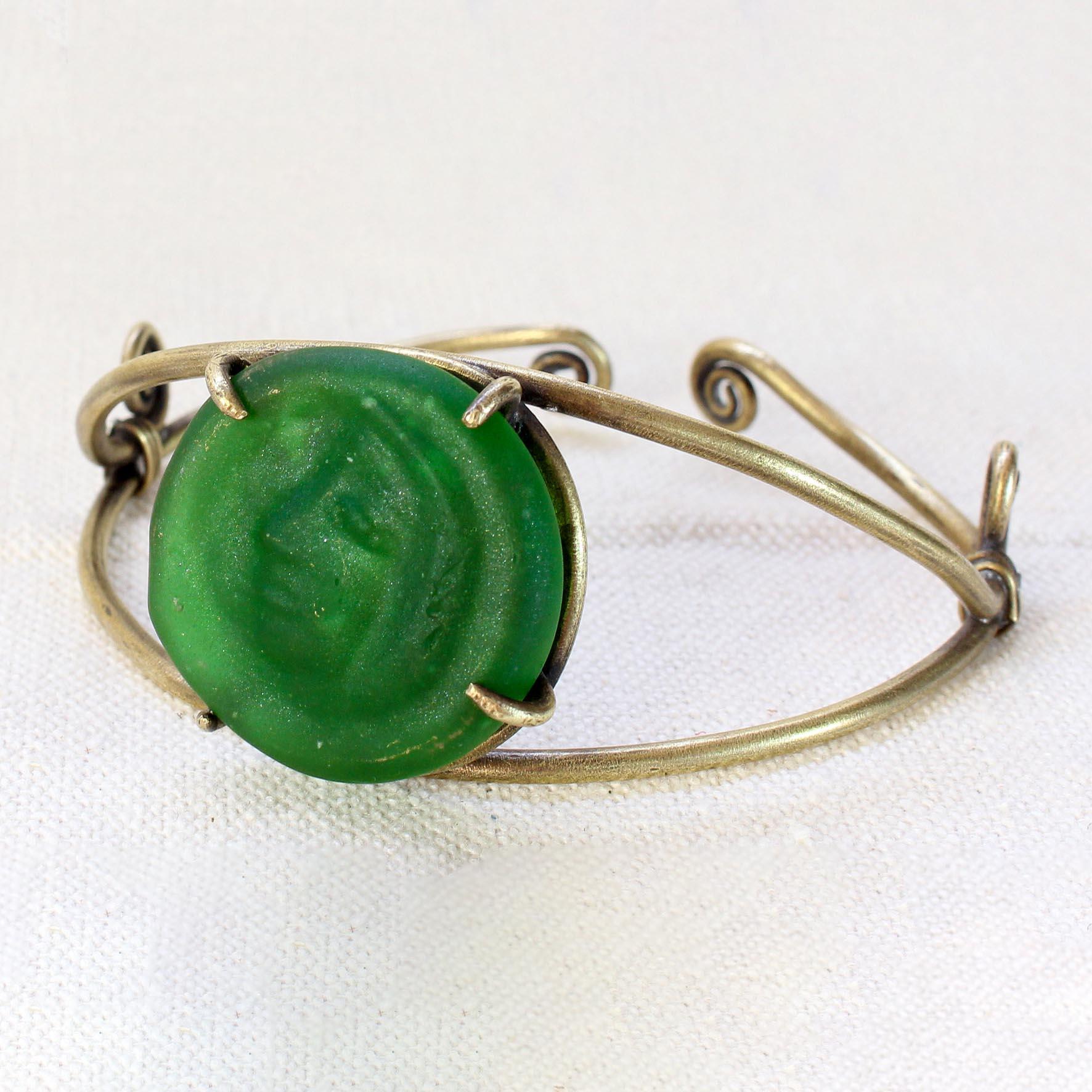 Spiral wire Glass Bracelet