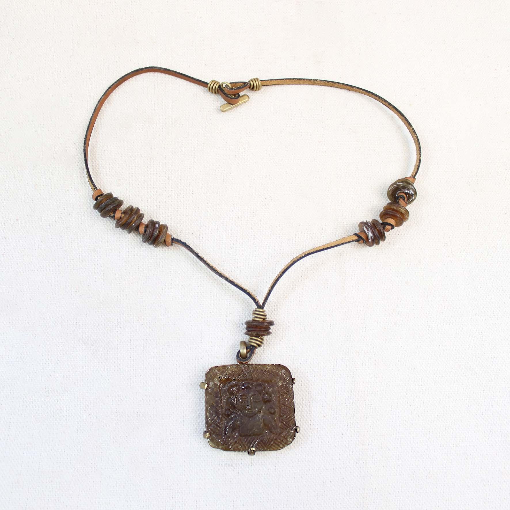 Square Glass Pendant Necklace